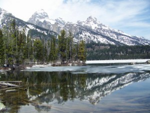 The Teton Range is reflected in Taggart Lake