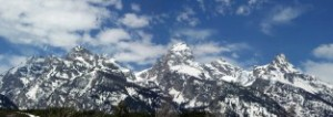 A panoramic view of the Tetons, taken from the Taggart Lake trail.