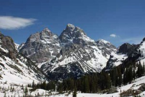 The Grand Teton, viewed from Cascade Canyon between the forks and Lake Solitude. Photo taken June 21, 2008.