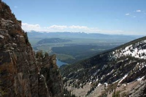 The view into Jackson Hole from near Surprise Lake\'s outlet. Photographed June 28, 2008.