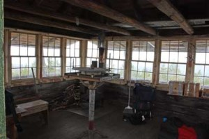 The interior of the Huckleberry Mountain fire lookout, photographed July 4, 2008.