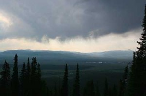 An afternoon shower over Jackson Hole. Photo taken by Joshua Mickelson on June 25, 2008.