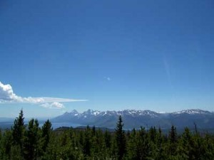 The view of the north end of the Teton Range and Jackson Lake from Huckleberry Mountain. Photographed June 30, 2007.
