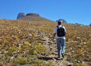 The final ascent up Table Mountain is steeper than it looks. Photo taken Sept. 11, 2004.