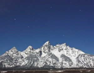 The Tetons at night, photographed on October 13, 2008.