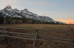 The last light of the day touches the tops of the Tetons above a ranch near Taggart Lake. Photographed November 16, 2008.