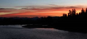 Sunset over the Snake River, viewed from the bridge at Moose. Photographed November 16, 2008.