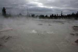 Water churns in Phantom Fumarole. Photographed October 25, 2008.