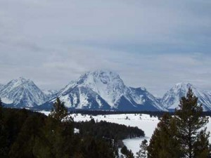 Mount Moran rises behind Jackson Lake, viewed from Signal Mountain on March 11, 2007.