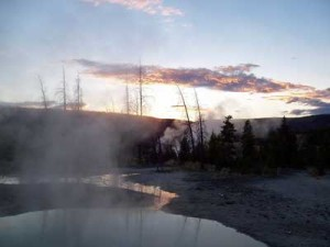 A sunset near the Firehole River on September 12, 2005.