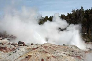 Steamboat Geyser, shown on April 19, 2009.