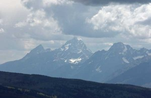 The view of the Tetons from the summit of Mt. Sheridan, photographed on August 17, 2009.
