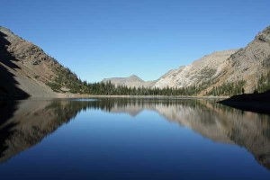 A gorgeous reflection in Crypt Lake, seen from the south shore on September 27, 2009.