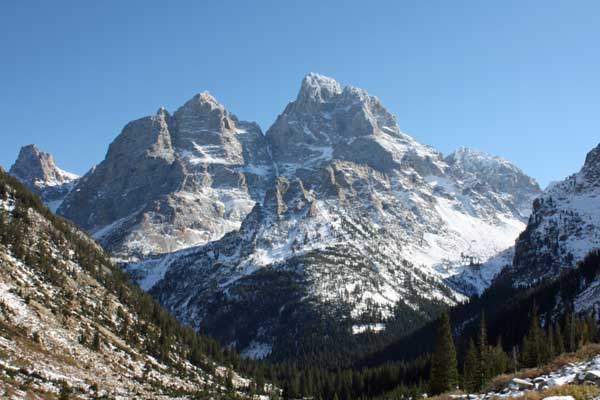 The view of the snow-capped Tetons on October 17, 2009, from upper Cascade Canyon.