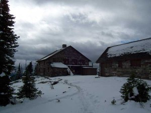Snow comes early at Granite Park Chalet. This photo was taken on September 23, 2006.