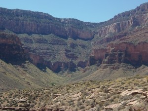 The wall that the Bright Angel Trail ascends.